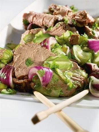 Холодный салат с говядиной