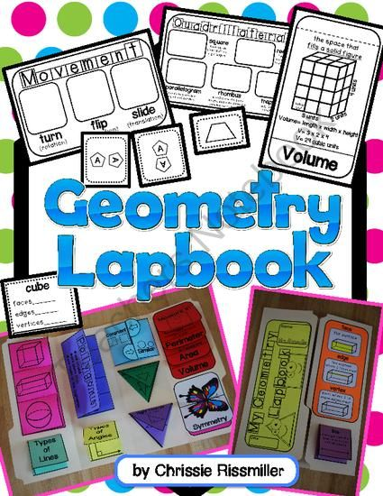 Geometry Lapbook Interactive Kit from Chrissie Rissmiller on TeachersNotebook.com -  (32 pages)  - Printables and photo directions for making a geometry lapbook with your students.