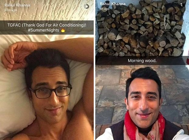 Actor Rahul Khanna recently re-entered collective public imagination when he joined Snapchat and pretty much aced it with his fairly suggestive snaps.