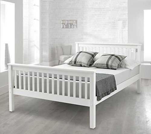 Harper Bed Frame Double White White Wooden Bed Wooden Bed