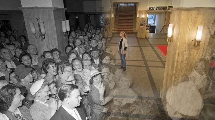 Montage Früher und Heute im Eingangsbereich des Lichtburg-Kinos | Bildquelle: WDR/Tvision Gmb/Richard Raffel+Ruhrmuseum/Otto Häublein