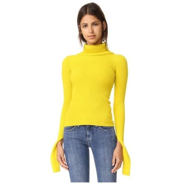 Jacquemus Turtleneck Top (£310) ❤ liked on Polyvore featuring tops, sweaters, yellow, turtleneck tops, yellow long sleeve top, long sleeve turtleneck, turtle neck top and turtleneck sweater
