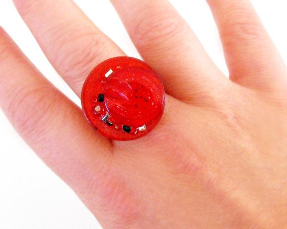Bead embellished wire & button ring  red by DemelzaGraceDesign, $18.00