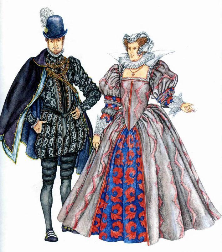 """мужской и женский костюм Испании 16 века на мужчине: вамс, штаны с буфами, плащ-боэмио на женщине: лиф - """"гусиное брюхо"""", чепец """"а-ля-Стюарт"""""""