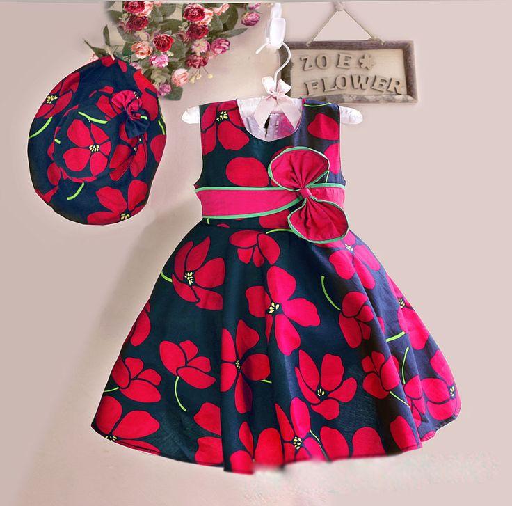 Vestido Infantil Floral em Algodão Mais Chapéu. Frete Grátis!