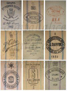 Sacos de grano francés alimentación sacos Vintage por DigitalAlice