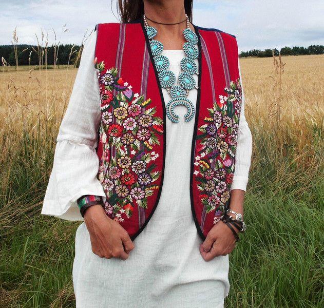 Westen - M Blumen Hippie Weste♥FLOWER♥ gewebt & best... - ein Designerstück von santa-fee bei DaWanda