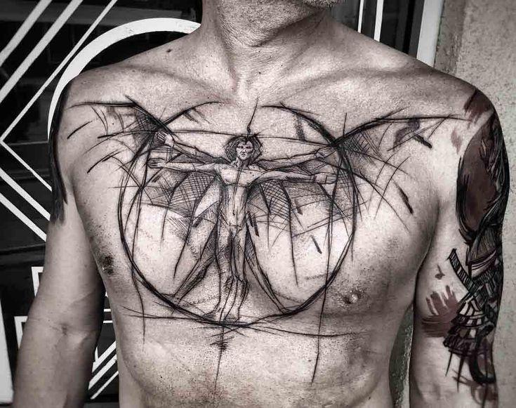 chest tattoo da Vinci man #tattoosmenschest