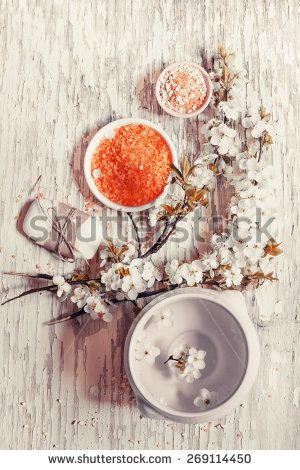 Aromatherapy SPA set/ Spa setting over wooden background  - stock photo