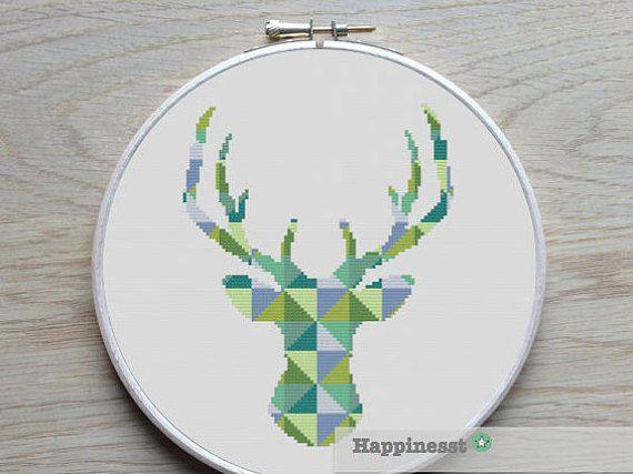 modern cross stitch pattern deer silhouette reindeer by Happinesst