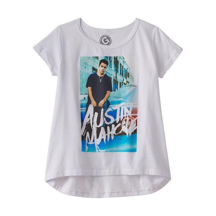 NWT Austin Mahone Girl's Printed Short Sleeve Hi-Lo Tee Top White M/L #AustineMahone #Everyday