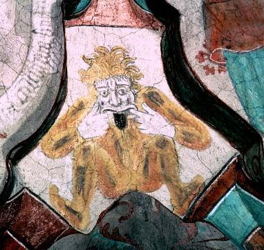 """grimacer/girner making an insulting gesture - detail of wall-painting in the church at Harnevi, Uppland, Sweden, painted by Albertus Pictor in the 1480s  Like several other examples of this motif, the painting has been so composed that a ventilation hole acts as the mouth of the grimacer REPINNED FROM MY NEW """"LATE MEDIEVAL SCANDINAVIAN CHURCH WALL PAINTINGS"""" BOARD"""
