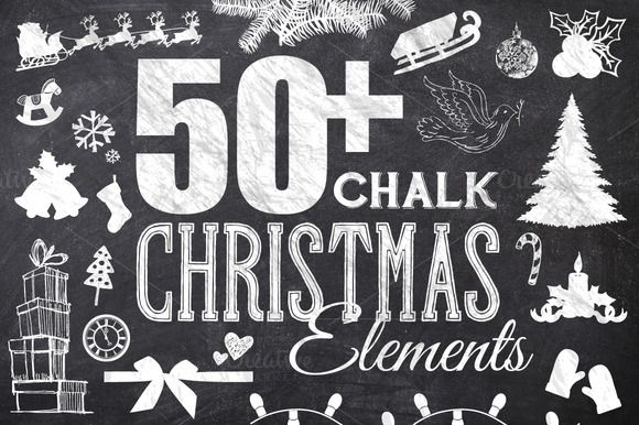 Check out 50 Chalk Christmas Elements by Domo Designs on Creative Market