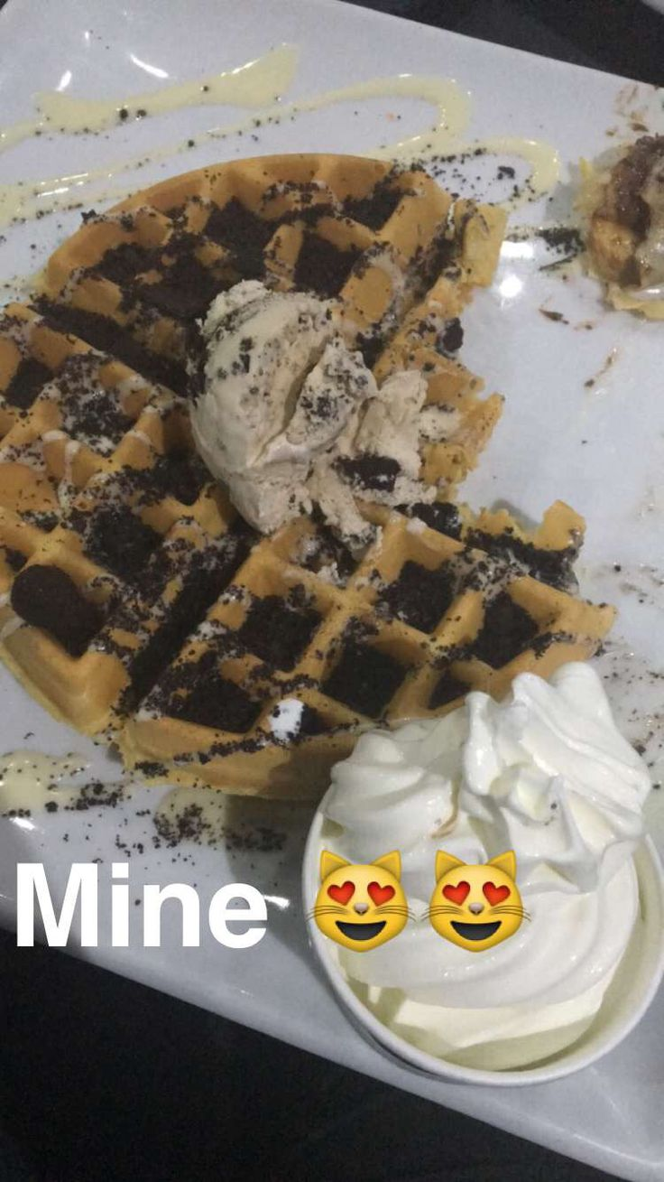 This is a lovely waffle with Oreo crumbs and Oreo icecream , it's very easy to make get pancake mixture and pour into waffle maker