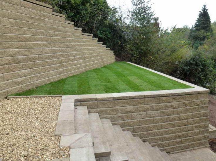 Walls:Cinder Block Retaining Wall With Nice Grass Cinder Block Retaining Wall