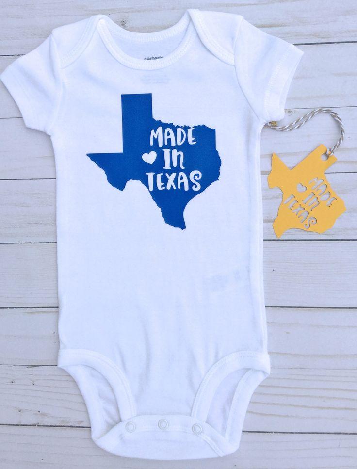 Made in Texas/ Gender Neutral/Baby Shower Gift/ Baby Announcement/Baby Boy Onesie/ baby girl Onesie/ Texas baby/ by sunnyvilledesigns on Etsy https://www.etsy.com/listing/534753397/made-in-texas-gender-neutralbaby-shower