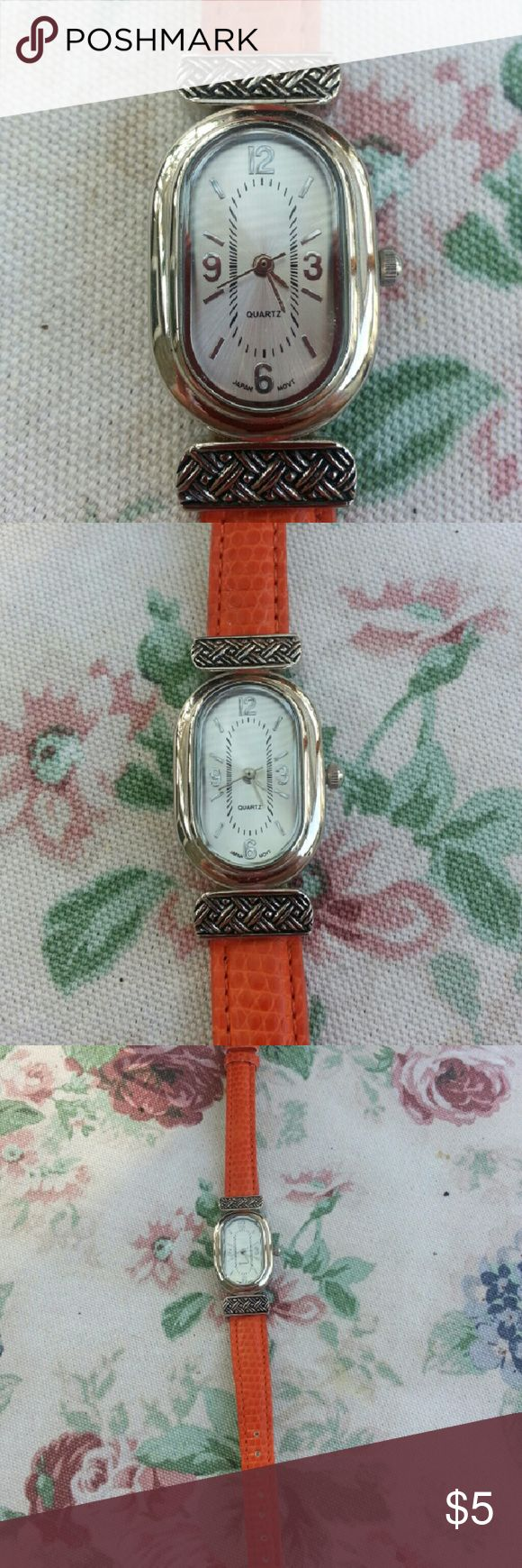 Women's orange watch Women's orange watch. Never been worn but does need a new battery  Been sitting in my drawer. Accessories Watches