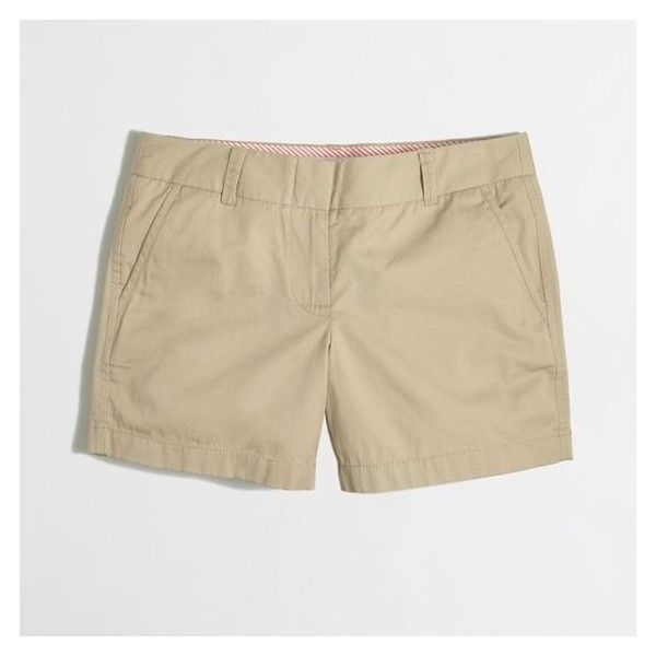 """J.Crew 5"""" chino short ❤ liked on Polyvore featuring shorts, short shorts, zipper shorts, j crew shorts, chino shorts and short chino shorts"""
