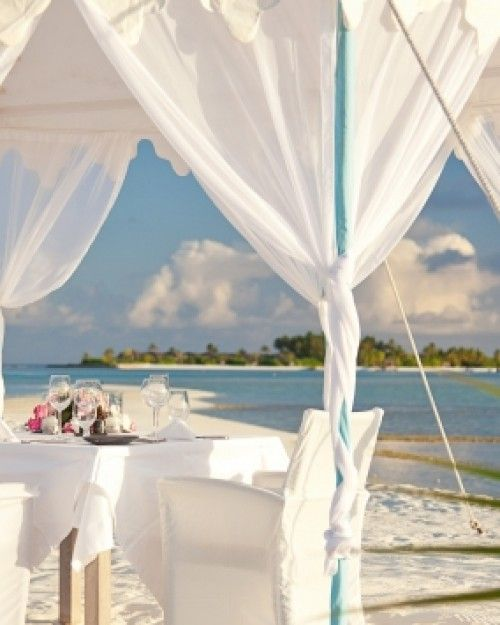 Naladhu Maldives ( Male, Maldives ) The gracious staff can organize romantic, private dinners in the setting of your choice. #Jetsetter #JSBeachDining #JSHoneymoon
