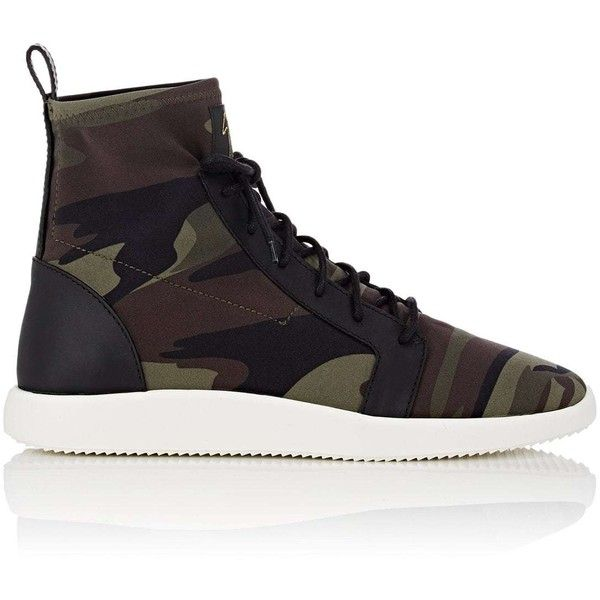 Giuseppe Zanotti Men's Camouflage Neoprene Sneakers ($795) ❤ liked on Polyvore featuring men's fashion, men's shoes, men's sneakers, green, giuseppe zanotti mens shoes, mens shoes, mens high top shoes, mens camo slip on shoes and giuseppe zanotti mens sneakers