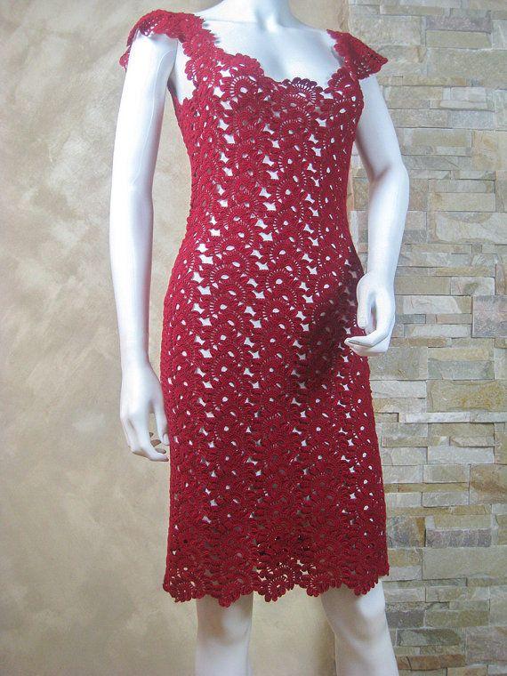 Exclusive vinous crochet lace dress crochet party by LecrochetArt