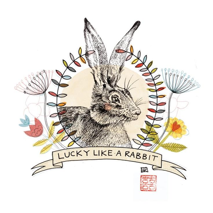 """Lucky like a rabbit"" print by Durban artist, Kim Longhurst"