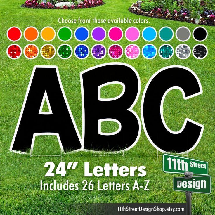24 A Z Alphabet Yard Sign Letters Kg Font 26 Letter Etsy In 2021 Yard Cards Lettering Yard Signs