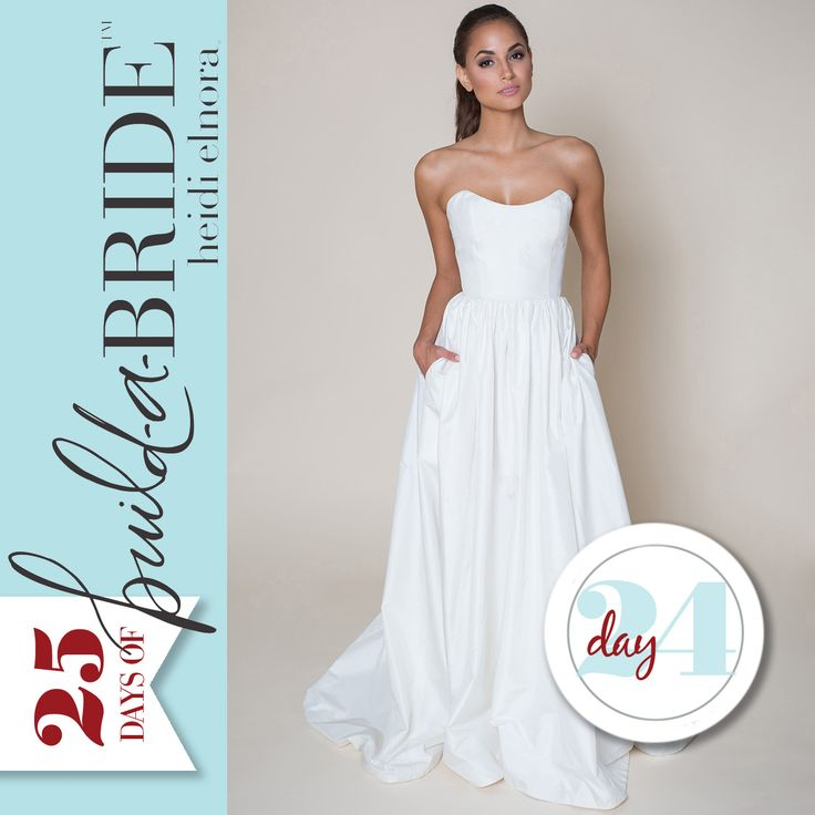 "We saved one of our favorite ""build-a-bride"" by heidi elnora gowns for last… The LaLa Phillips is clean, classic, and flawless! Check back tomorrow to see a layered look! We only have one more look, but the voting process doesn't end until January 8th, so keep emailing info@heidielnora.com to request an application."