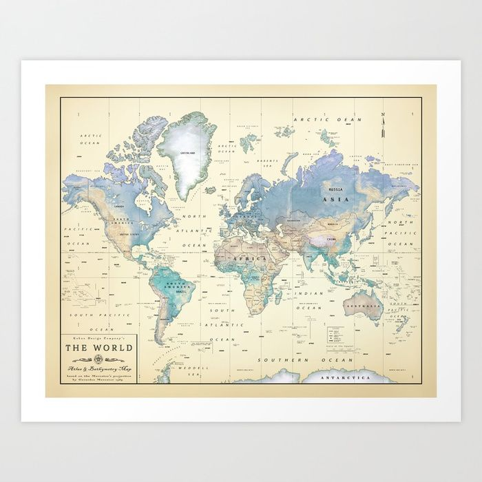 14 best world maps images on pinterest country etsy and rural area antique inspired world map shaded relief art print by kokuadesigncompany society6 gumiabroncs Image collections