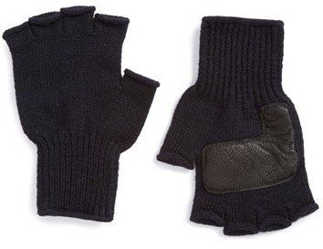 $39, Upstate Stock Fingerless Wool Gloves With Deerskin Leather Palms. Sold by Nordstrom. Click for more info: https://lookastic.com/men/shop_items/389978/redirect