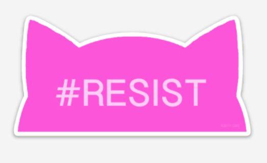 Women's March Pussy Hat Resist Bumper Sticker or Window Decal by Kitty Hat