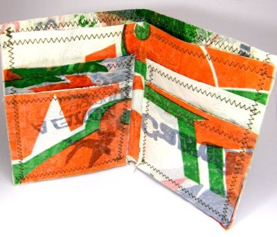 made from fused plastic bags -- wallet