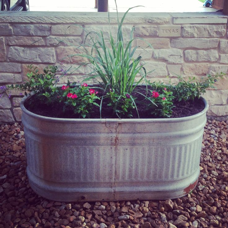 Galvanized Metal Trough Planters