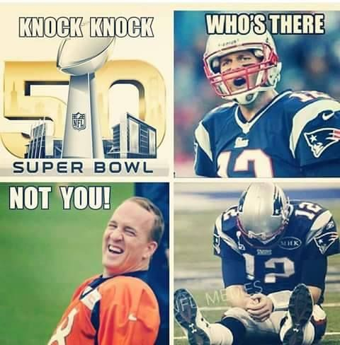 Peyton Manning, Denver Broncos, to Tom Brady, New England Patriots