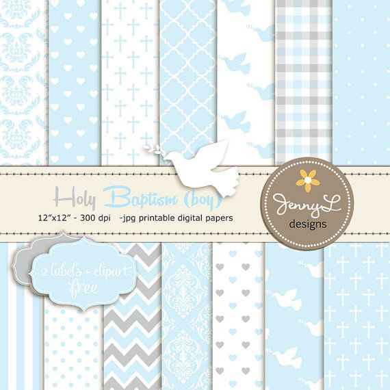 Boy Baptism Digital Papers First Communion by JennyLDesignsShop
