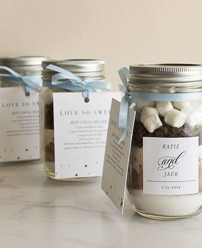 "Cute hot chocolate #DIY wedding favors with nice labels (love the ""and"" font)"