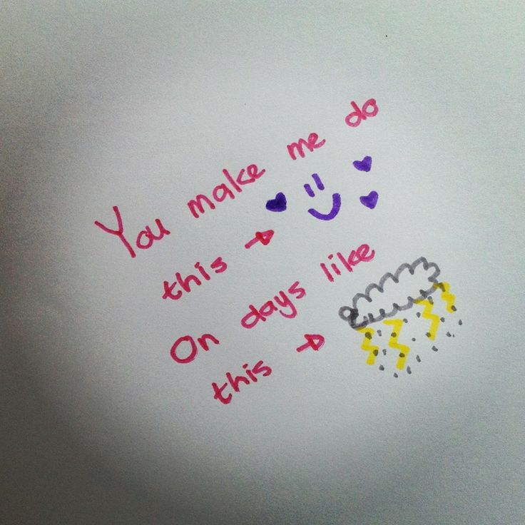 A cute little doodle message I sent to my boyfriend this morning. Perfect for a rainy day!