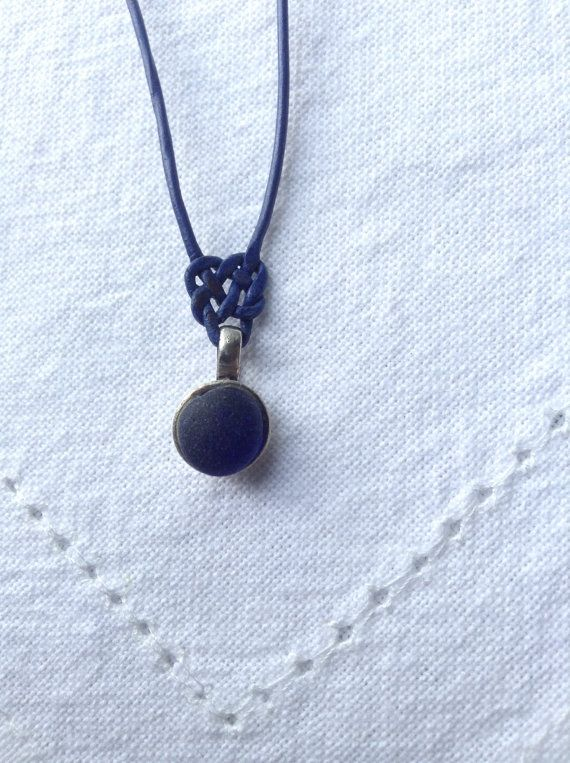 Genuine Dark Blue Seaglass and Sterling Silver Pendant with Macrame Heart knot