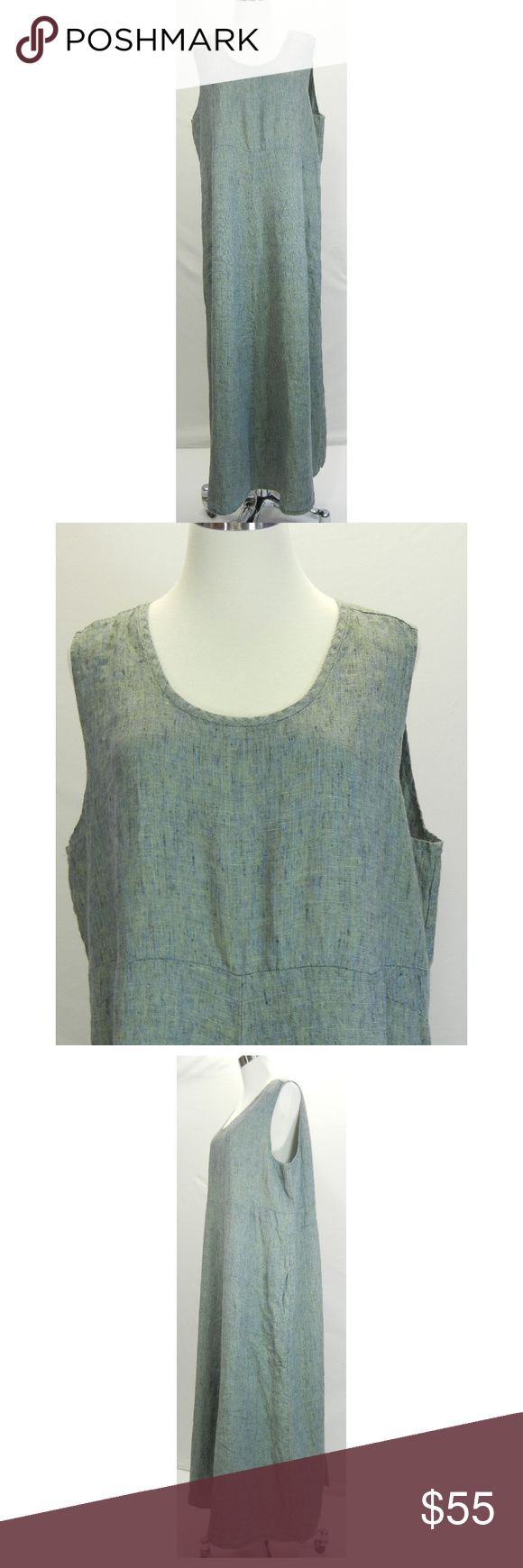 """FLAX Jeanne Engelhart Linen Long Jumper Dress Long Jumper dress from Flax by Jeanne Engelhart  Green, blue, black, yellow Sleeveless Scoop neck Pockets on each side Straight hem 100% linen Machine wash, dry low Tagged size:  1G 18/20 Excellent condition, no flaws  Please check measurements to determine fit All measurements are given in full Chest  48"""" Waist  46""""  Hips  53""""  Length  55"""" Flax by Jeanne Engelhart Dresses Maxi"""