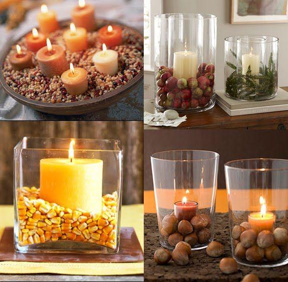 fun fall candle decor ideas: Centerpieces Ideas, Candles Decor, Fun Fall, Decor Ideas, Fall Decor, Fall Glasses, Glasses Candles, Candles Ideas, Fall Candles Centerpieces