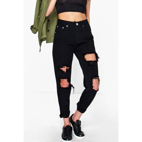 Boohoo Blue Hatty High Waist Distress Boyfriend Jeans ($44) ❤ liked on Polyvore featuring jeans, black, slim straight jeans, destructed boyfriend jeans, slim boyfriend jeans, high-waisted boyfriend jeans and destroyed skinny jeans