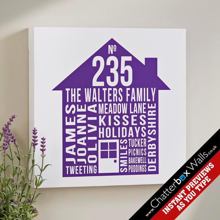 Personalised Typographic art canvas family & House design