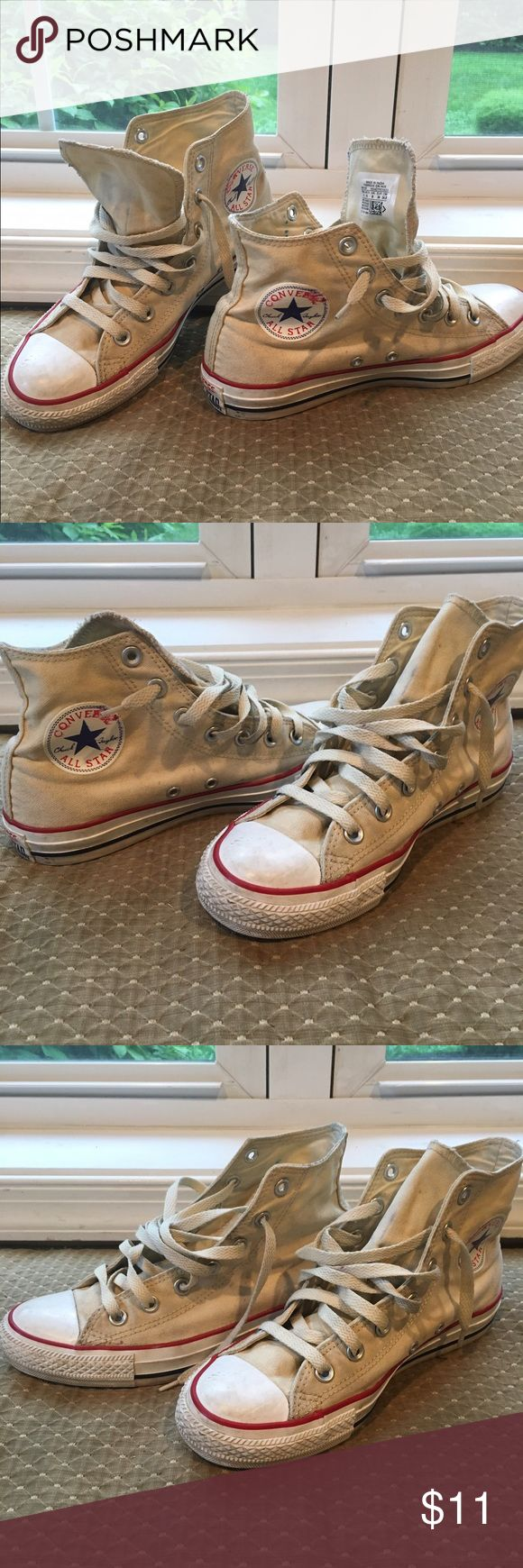 Off-White Converse High Tops Classic Chuck Taylor All Star Converse high tops in off-white canvas. Well-worn and scuffed as pictured. Women's 8, Men's 6 Converse Shoes Sneakers