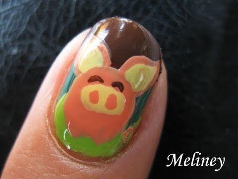 Nail Art Tutorial - Bat Pig Cute Animal Design for Short Nails meliney video