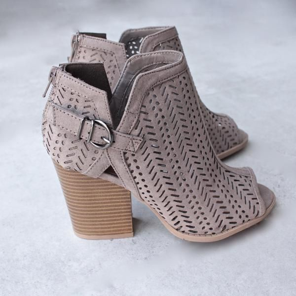 perforated suede peep toe booties - more colors - shophearts - 3