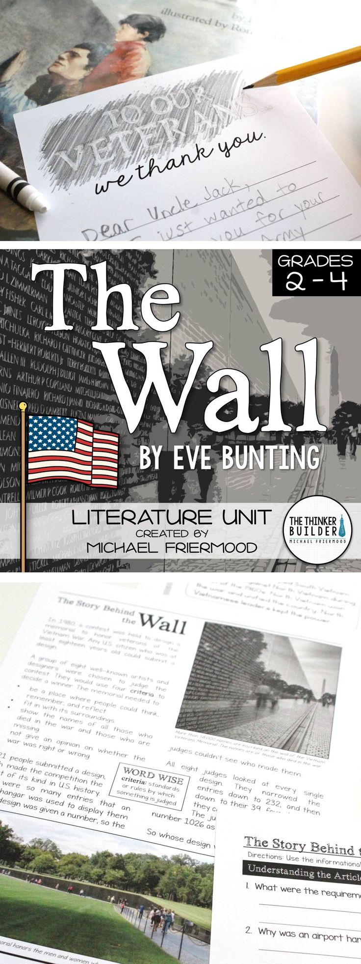 """A literature unit for """"The Wall,"""" by Eve Bunting. Engaging and informative, with background article and PowerPoint, story work and vocabulary, and extension activities. Perfect for the week of Veterans Day! (Gr. 2-4) $"""