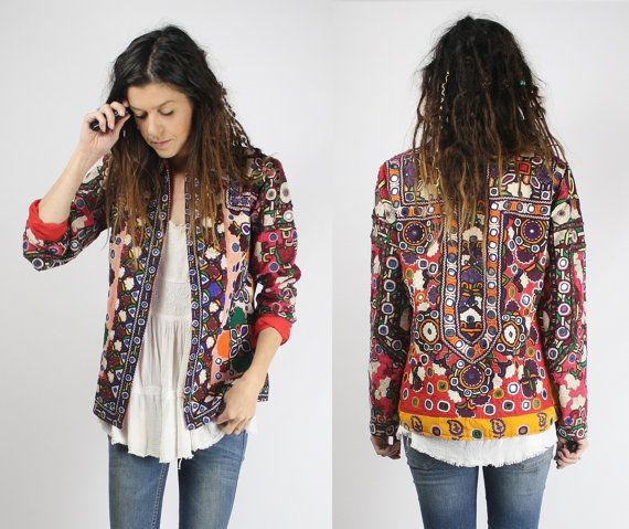 GYPSY JACKET, Vintage boho jacket, Bohemian, Mirror embroidery, Traditional Banjara, Native, Tribal, Ethnic, Indian, Festival, OOAK, S