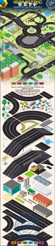 Isometric Vector City Map Kit. Cars, Roads, Houses  #GraphicRiver         3D Isometric City Map Kit.