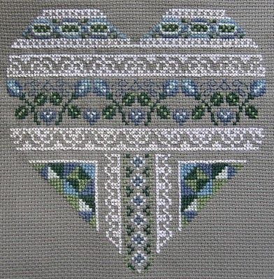 Beautiful cross-stitched heart