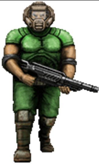 "The Marine. Doom 1993-1994-1997?-2016?. AKA Stan Blazkowicz. Note:""?"" means uncertian, however it is likely he is ""Doom guy"", I will accept criticism:). http://doom.wikia.com/wiki/B.J._Blazkowicz_(Doom_RPG)#Classic_Doom_.28Doom.2C_Doom_II.2C_Final_Doom_and_Doom_64..29."